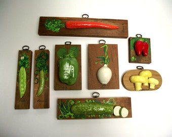 Vegetable Folk Art Ceramic and Wood Kitchen Wall Hanging Decor Gardeners Delight Set of Eight