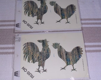 2 Packages of Vintage Rooster Chicker Transfer Decals