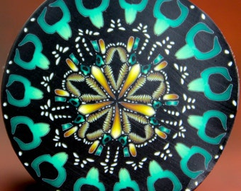 LARGE Polymer Clay Kaleidoscope Cane -'Midnight in Paradise' (17DE)