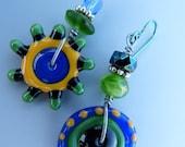 Asymmetrical Yellow, Blue and Green Lampwork Glass Bead Earrings
