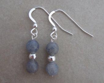 blue aventurine sterling silver earrings