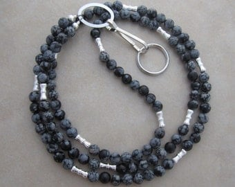 snowflake obsidian silver lanyard badge ID holder
