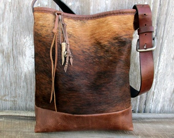 Hair on Brindle Cowhide Leather Bucket Bag by Stacy Leigh