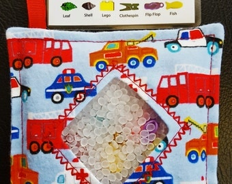 I Spy Bag - Mini with SEWN Word List and Detachable PICTURE LIST- Emergency Vehicles-Travel Toy-Quiet Play