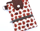 Cell phone wallet iPhone 6 Wallet Hedgehog fabric in brown
