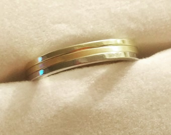 14 kt White and Yellow Gold Classic Stackable 1mm Wide Commitment or Wedding Band Custom made Size 4 through 12