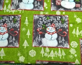 Christmas Snowman fat quarter cotton