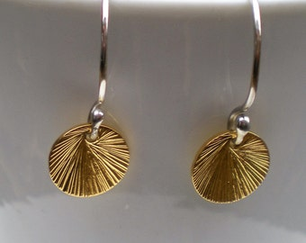 Argentium Silver Handforged Earwires with Brushed Gold Vermeil Discs