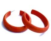 Orange Hoops   Tomato Orange Hoop Earrings   Marbled Bright Citrus Matte Lucite Midi Hoops - #MID-9OR