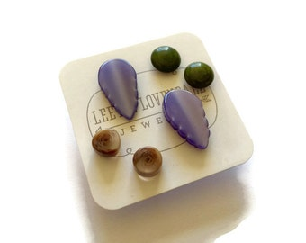 Stud Earrings Set | Lavender Leaf Earrings and Small Studs in Beige & Green | Vintage Lucite Earrings