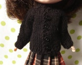 Blythe Black Wool Cardigan Sweater and Socks for Pullip and Vintage Skipper Too!
