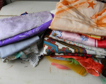 Collection of vintage scarves and handkerchiefs