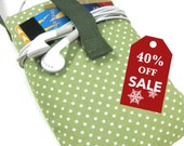 40% OFF Holiday Sale! Padded iPhone 4S 5 Cell Smart Phone Sleeve Mini Pouch Polka Dots print cotton TESAGE Yukiko Sato New York