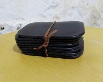 Black Cowhide Coasters (Set of 8)