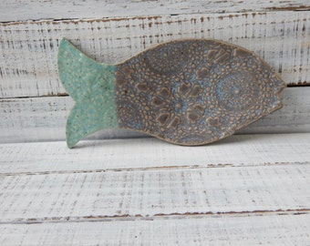 Fish-  Ceramic Fish Dish - Spoon Rest - Soap dish - Turquoise -Grey- One of a kind- Lace Pottery- Kitchen Decor- Fish Spoon Rest- Lace plate