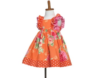 Pumpkin Rose Ruffle Dress - Layaway available