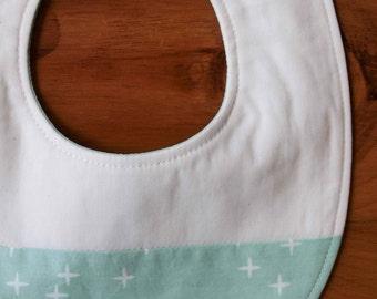 Stars Green Bib, Baby Drool Bib; Mint Wink; Green,White Stars Baby Bib Gift, Newborn Baby Gift for Girl or Boy, Gender Neutral Teething Bib