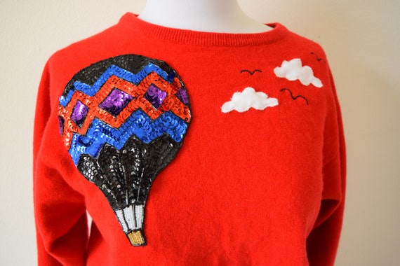 SPRING SALE/ 20% off Up and Away Red Cashmere Sweater with Sequined Hot Air Balloon and Cloud Appliques (size small, medium)