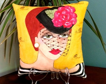 new..MANON PARIS PILLOW, hand painted pillow, Paris, Paris girl, veiled hat,  mustard yellow, fun quote, woman gift, earring, striped shirt