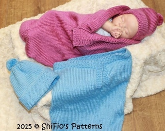 KNITTING PATTERN For Baby Plain Cocoon, Papoose, Hat Knitting Pattern in 2 Sizes PDF 332 Digital Download