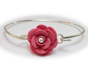 Camellia Bracelet Sterling Silver Bangle - Camellia Jewelry , Camellia Flower, Japanese Rose