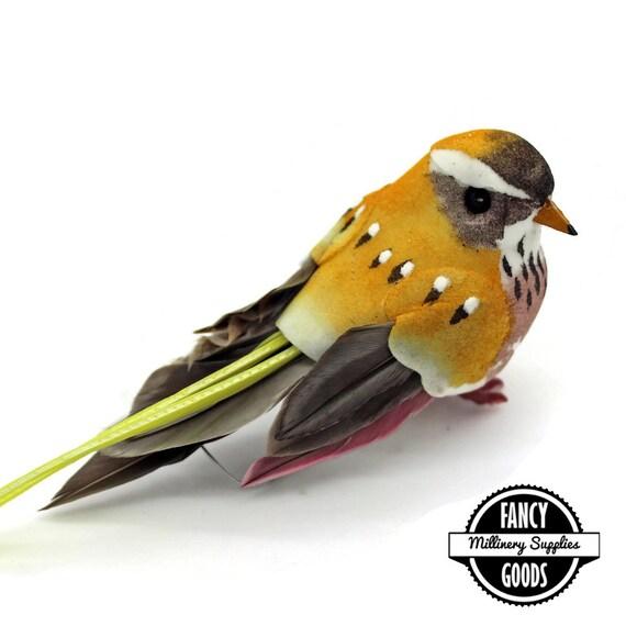 1 yellow gold artificial bird craft bird mushroom for Fake birds for crafts