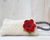 Aran  Cabled Wool  Wristlet  with Detachable Red  Flower Brooch