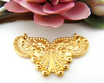 BRASS Floral Shell Cartouche Stampings - Jewelry Ornament Findings (C-801) #