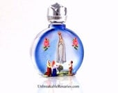 Virgin Mary of Fatima Stained Glass Holy Water Bottle With Francisco, Jacinta Marto and Lucia Santos