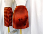 Red and Black Flannel Straight Skirt with Appliques and Sequins Buffalo Plaid Skirt Short Skirt Vintage Style Cotton Skirt Size Small