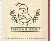 Quail Book Stamp, Bird Book Stamp, This Book Belongs to Stamp