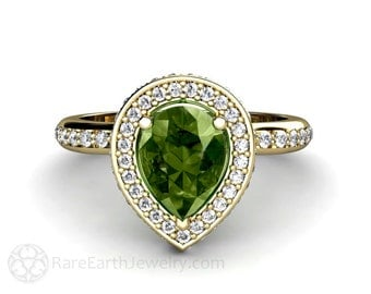 Green Sapphire Engagement Ring Pear Halo Diamond Sapphire Ring 14K or 18K Gold Custom Gemstone Ring