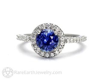 Blue Sapphire Engagement Ring Sapphire Ring Platinum with Diamond Halo Ceylon Sapphire