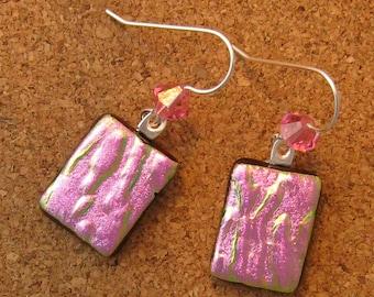 Pink Dichroic Earrings - Fused Glass Earrings - Swarovski Crystal Earrings - Dichroic Jewelry - Fused Glass Jewelry