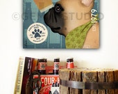 Frenchie French Bulldog dog Brewing Company graphic art gallery wrapped on canvas by stephen fowler