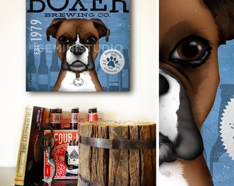 Boxer Brewing beer company advertising style artwork on gallery wrapped canvasy by stephen fowler