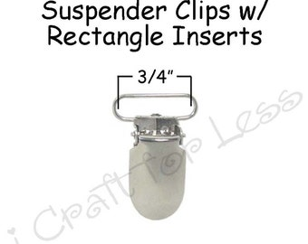 100 Metal 3/4 Inch Suspender Clips - w/ Rectangle Inserts - Lead Free - plus Pacifier Holder Instructions - SEE COUPON