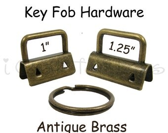 10 Key Fob Hardware with Key Rings Sets - 1 Inch or 1.25 Inch Antique Brass - Plus Instructions - SEE COUPON