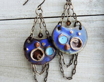 Enameled Chain Trapeze Chandelier Brass Swarovski Crystal Dangle Earrings - Starry Nights and Planets Blue Rust Aqua