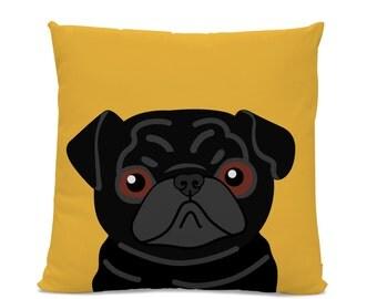 Pug Pillow - Black Pug on Yellow Pillow - Dog Pillow - Pug Lover Gift - Dog Lover Pillow - Kid's room pillow - Black Pug Decor - Dog Decor