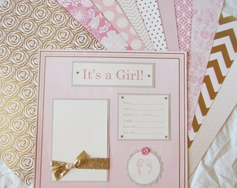 FiRsT YeAr ALbUm -- 20 BABY GIRL Premade Scrapbook Pages for 12x12 album -- GoLD -n- PiNK -- rose gold