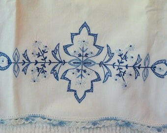 One Single Vintage Hand Embroidered Pillow Case with Crochet Trim in Shades of Blue - to use or repurpose