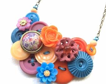 Button Jewelry Bright Garden Flowers Vintage Button Statement Necklace in Pink, Orange, Peach, Blue