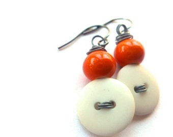 ON SALE White Button Earrings with Orange Color Beads on Gray Wire