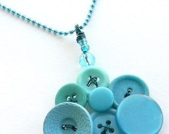 Winter sale Bright Jewelry - Robin's Egg Blue Vintage Button Pendant