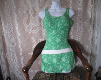 Vintage Sears & Roebuck Green and White Swim Suit - Bathing suit
