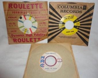 Lot of 3 Vintage 45 RPM Vinyl Jimmie Rodgers Johnny Cash Tony Bellus EUC