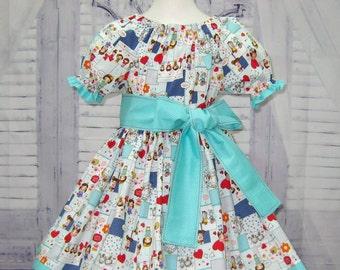 Aqua Polka Dots Girl Dress, Aqua And Red Girl Dress, Girl Aqua Peasant Dress,  Birthday Girl Dress, Tea Party Dress, Toddler Dress