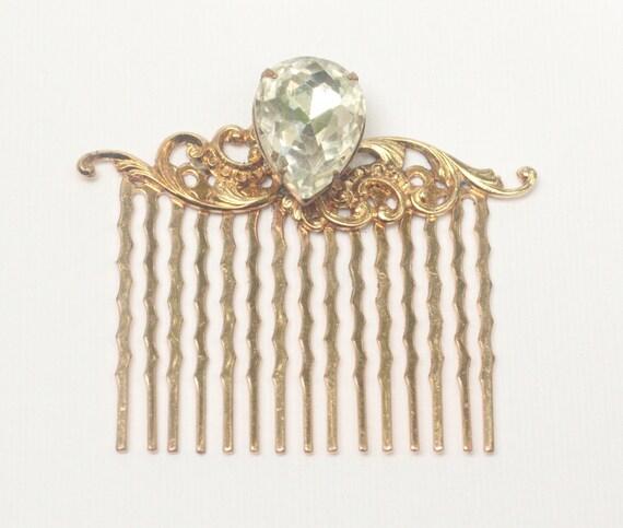 bridal hair comb rose gold crystal rhinestone by mylavaliere