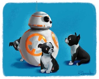 Boston Terrier star wars BB-8 - Boston Terrier puppy dog art print